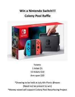 Colony Pool raffel Switch